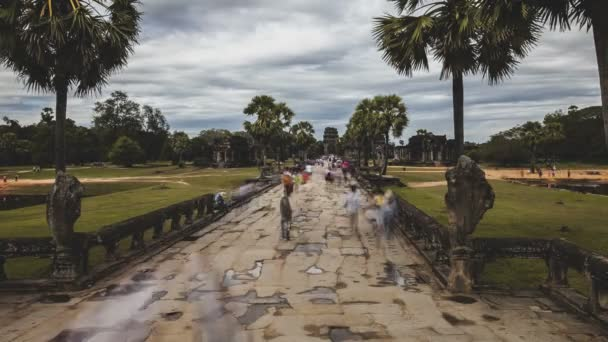 Angkor Wat Cambodia. Long exposure cinematic time-lapse movement of tourists