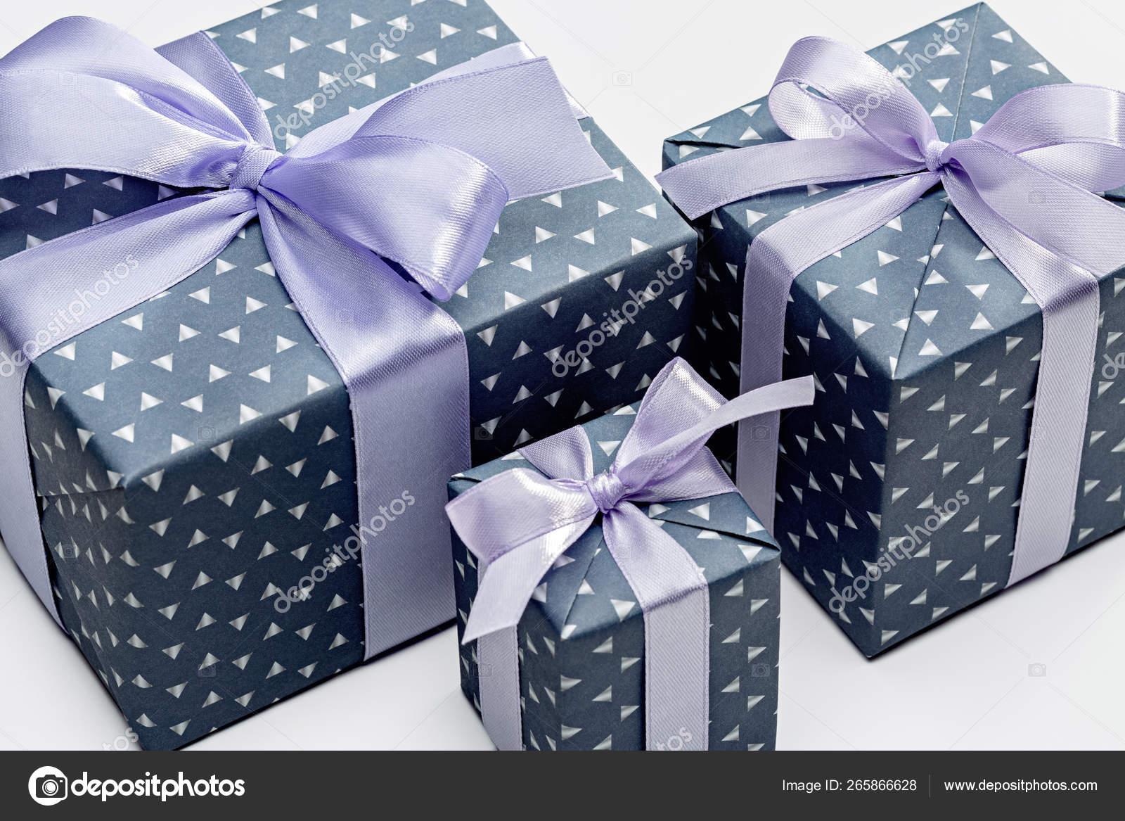 Three Boxes Gifts Men Elegant Paper Blue Ribbon Celebrating Birthday