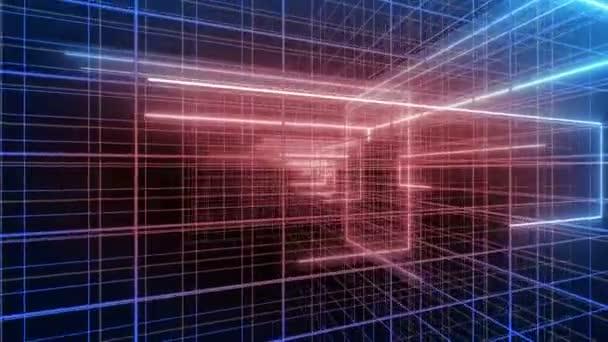 abstrakt 3d Drehung, digital, Linienraster, Schlaganfall-Computer-Backgorunds 4k-Schleife