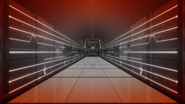 Datové centrum digitální serverovny. Technologická základna abstraktní. Počítačové sítě. Digitální úložiště a cloud. připojení k síti. Virtuální realita. Internetové pozadí 4K