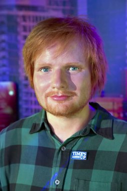 New York, USA - April 30, 2018: Portrait of Ed Sheeran in Madame Tussauds of New York