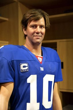 New York, USA - April 30, 2018: Eli Manning in Madame Tussauds of New York