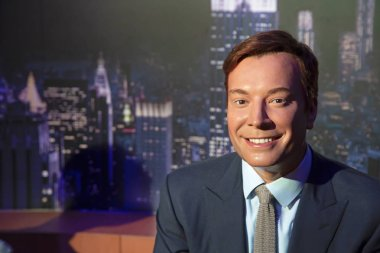 New York, USA - April 30, 2018: Jimmy Fallon in Madame Tussauds of New York