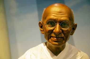 New York, USA - April 30, 2018: Mahatma Gandhi in Madame Tussauds of New York