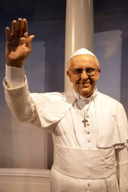 New York, USA - April 30, 2018: Pope Francis I in Madame Tussauds of New York