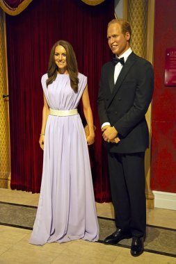 New York, USA - April 30, 2018: Prince Williams and Kate Middleton in Madame Tussauds of New York