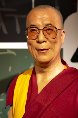 New York, USA - April 30, 2018: Dalai Lama in Madame Tussauds of New York
