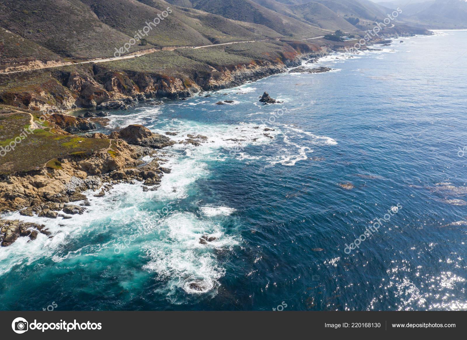 Cold Waters North Pacific Ocean Wash Rocky Scenic Coastline Northern