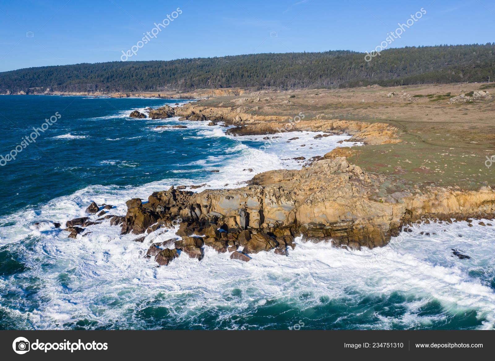 Cold Waters Pacific Ocean Crash Rocky Northern California Coastline