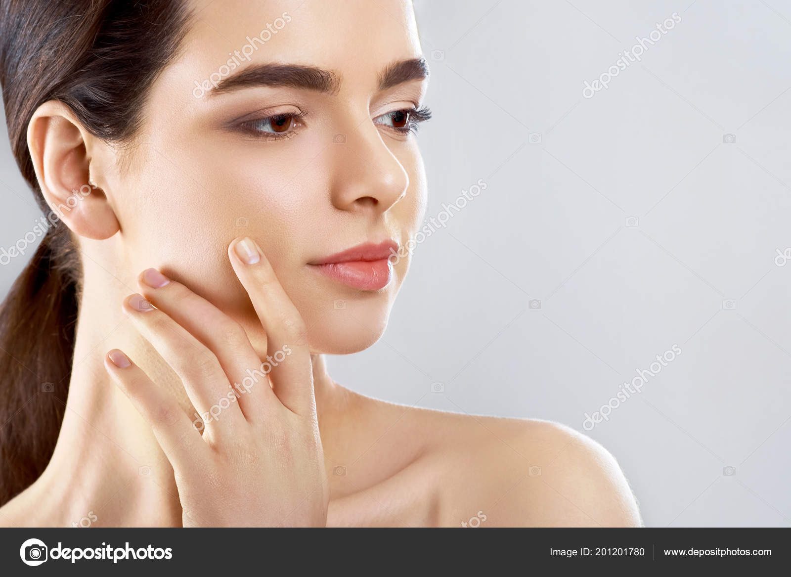 Beauty Face Beautiful Woman Natural Makeup Touch Own Face Girl