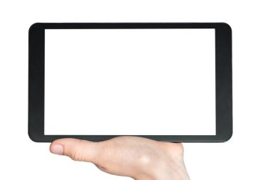 Tablet with blank white touch screen in hand of woman isolated on white background