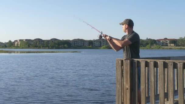 Halász halászat bottartó a tó vagy folyó víz