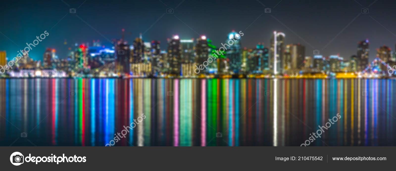 Downtown San Diego Night Soft Focus San Diego Skyline Night Stock Photo C Sid10 210475542