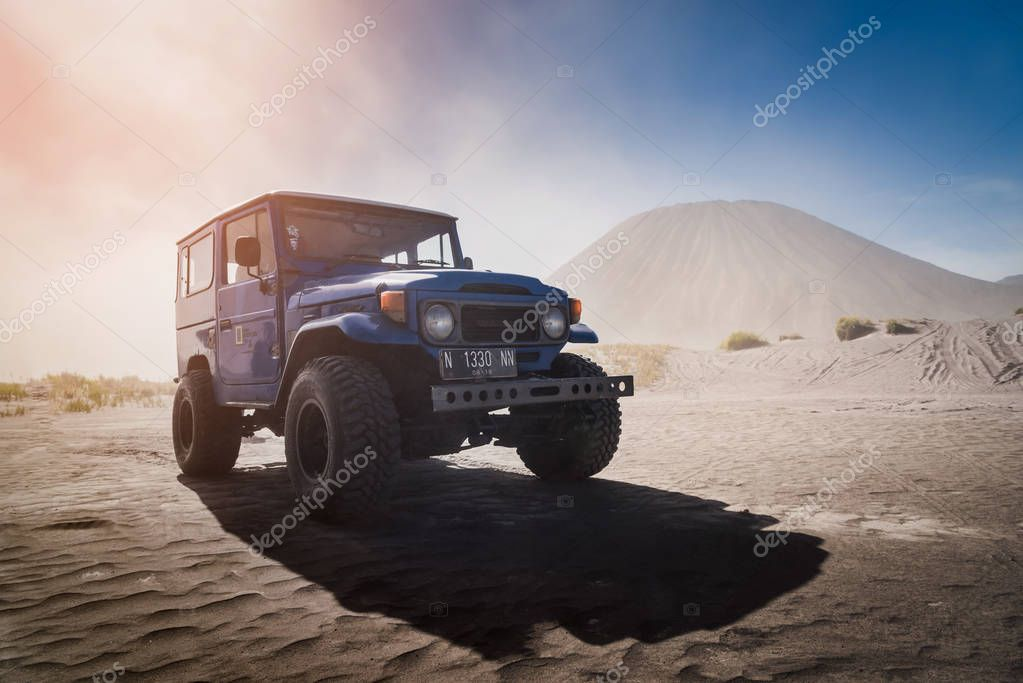 Bromo, East Java, Indonesia- Aug 14, 2017 ; Blue Four Wheel Trucks spotted at Bromo Tengger Semeru National Park, East Java, Indonesia.