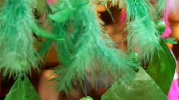 Die grünen Federn ein Dreamcatcher, die im Wind wiegen