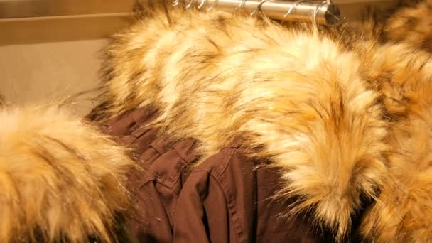 Stylish warm winter jackets with fur collar hanging in row on hangers in a clothing store in a mall.