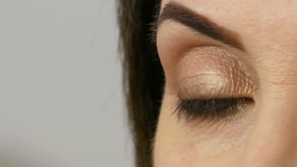 Close view of blue eye of middle-aged adult woman with beautiful make-up in a beauty salon.