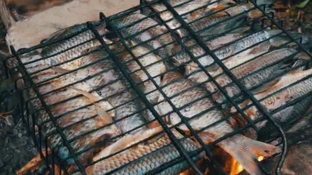 Folyami halak Kárász Carassius tűz-és füstrács közeli kilátás. Ízletes grillezett hal a tűz