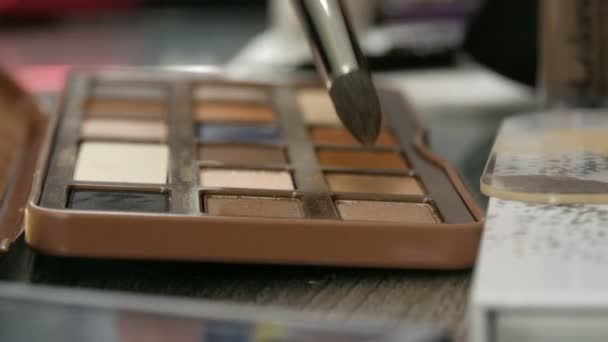 Palette of eyeshadow in brown tones. Special professional makeup brush takes eyeshadow close up view. High fashion industry backstage
