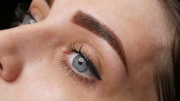 The face portrait of a beautiful young woman with blue eyes and long eyelashes after the procedure of permanent make up by microblading with eyebrow tattoo lies on a couch in a beauty salon close up