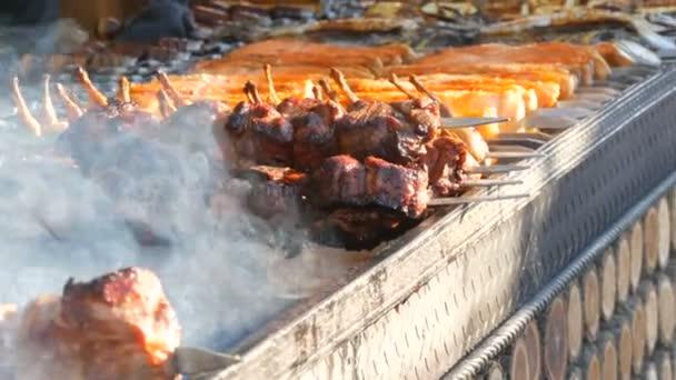 Dlouhá řada zeleniny a kousků masa BBQ na špejlích, připravených k grilování, kouří z grilu. Festival pouličních jídel