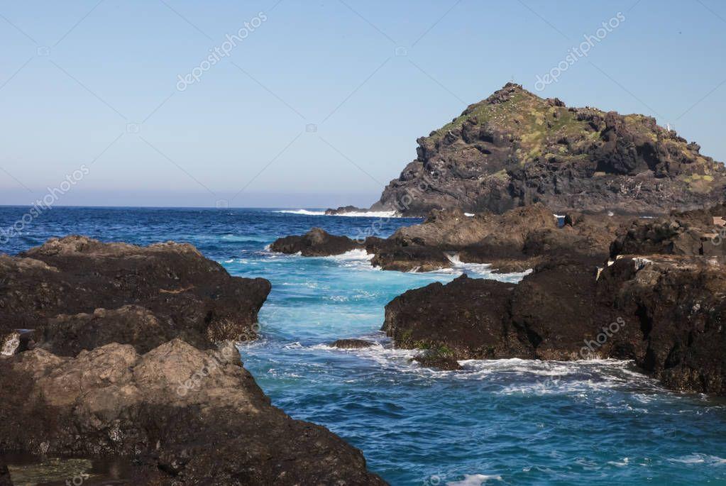 Mountains off the coast of Tenerife. the ocean coast.