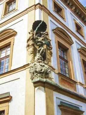 Prague, Czech Republic - August 23, 2016: Attractions of city Prague. Statues and monuments. Historical Buildings