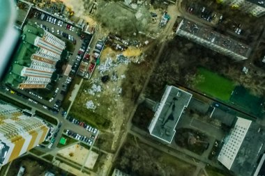 Top view of the city of Moscow, buildings and roads and other infrastructure of the city. Cityscape view from above.