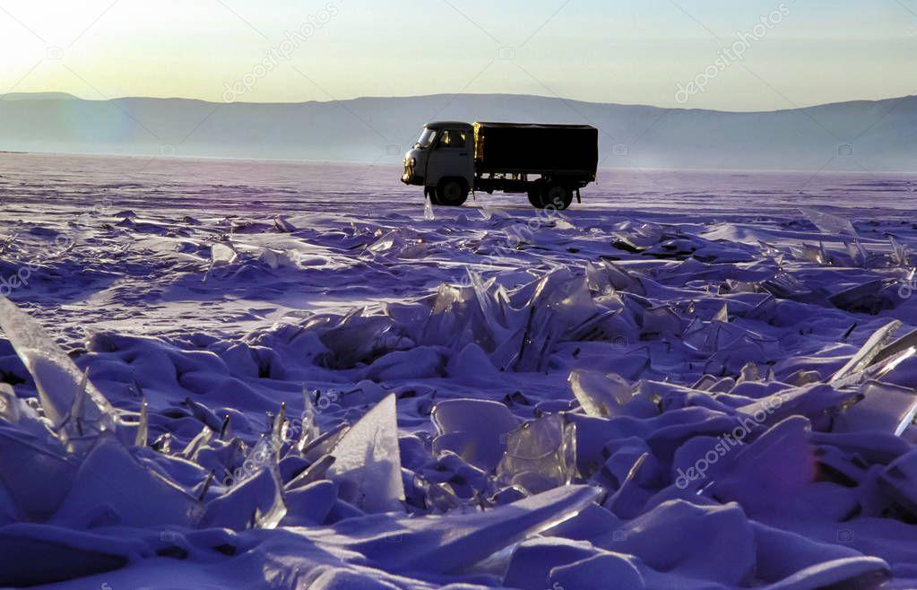 Car on the ice of Lake Baikal. Car on the ice of Lake Baikal.
