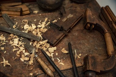 old tools for traditional wooden art work