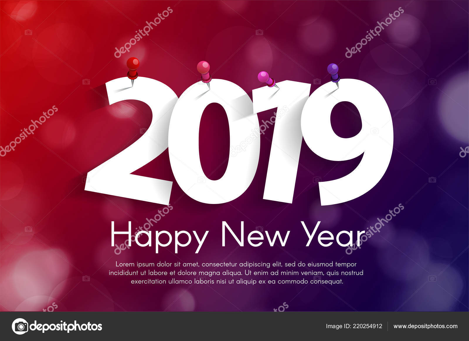 happy new year 2019 greeting card concept paper cuted white stock vector