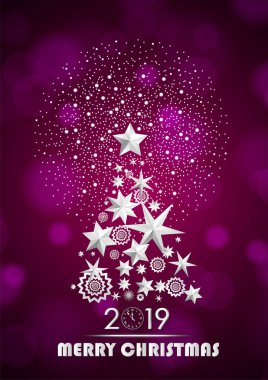 Christmas and New Year 2019 abstract with Christmas Tree made of stars and snowflakes with firework on dark pink ambient blurred background. Vector illustration