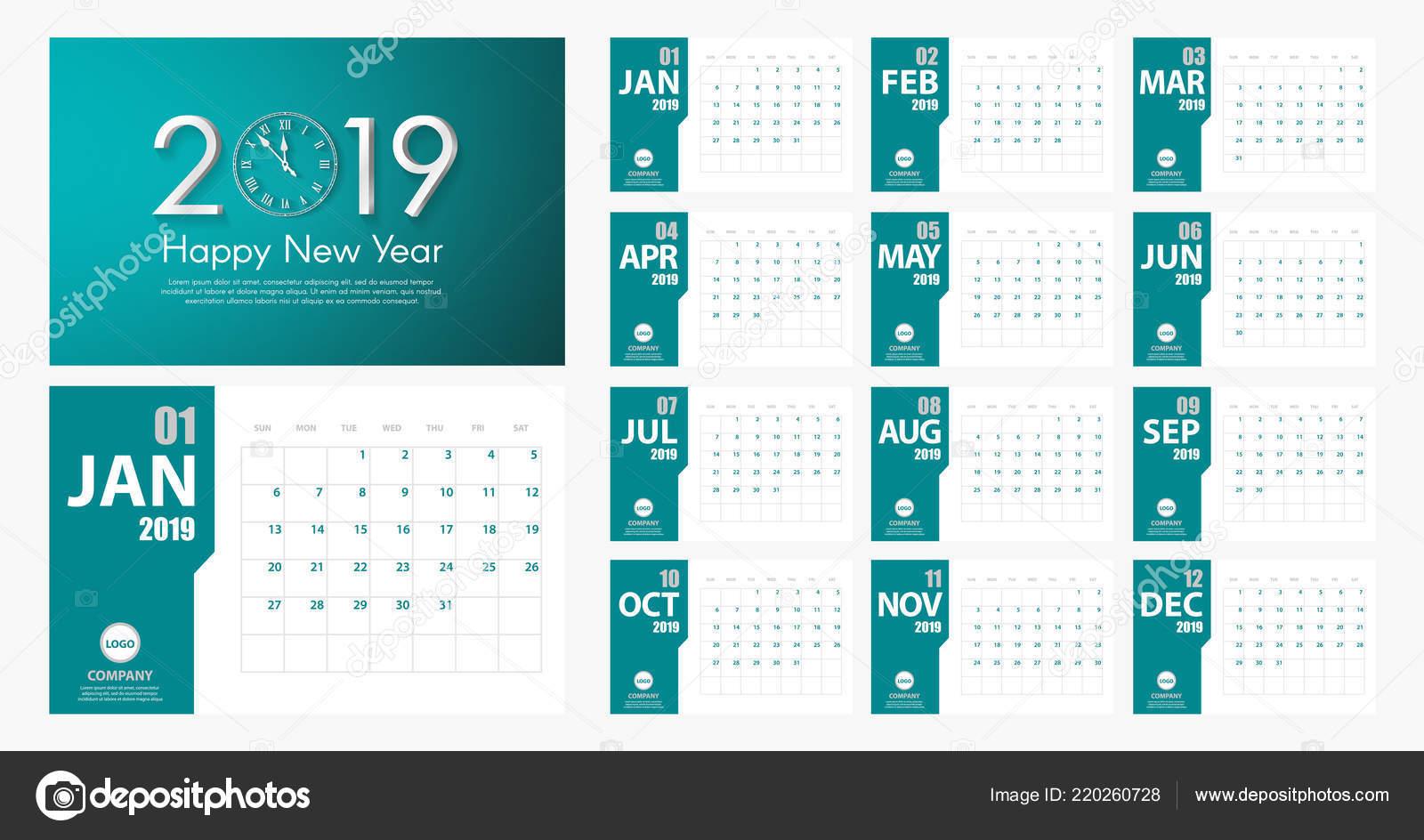 Calendario 2019 Moderno.2019 Nuovo Anno Del Calendario Stile Semplice Moderno