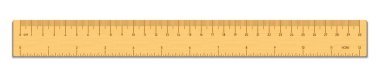 Realistic wooden tape ruler isolated on white. Double sided measurement in cm and inches. Vector illustration