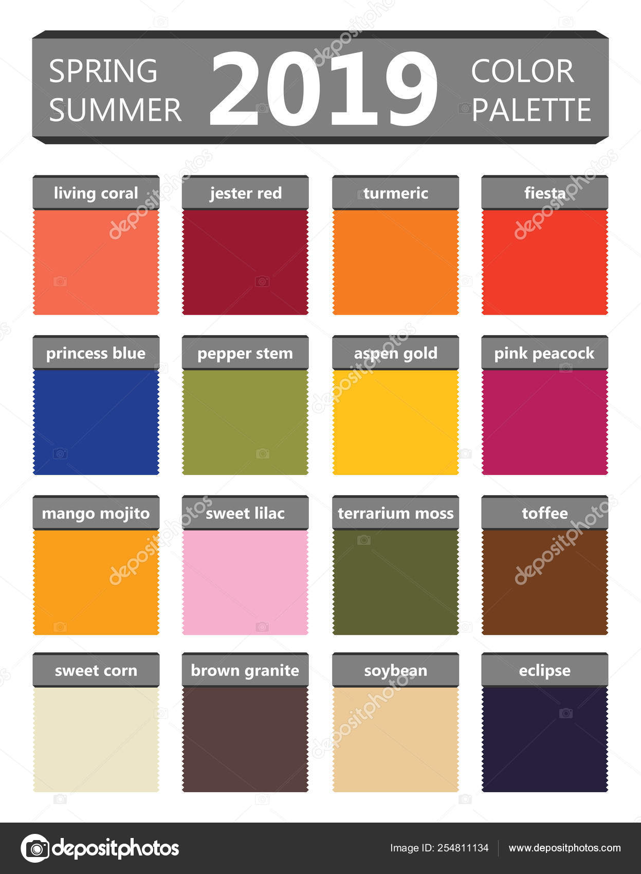 Spring And Summer 2019 Colors Palette Fashion Trend Guide Palette