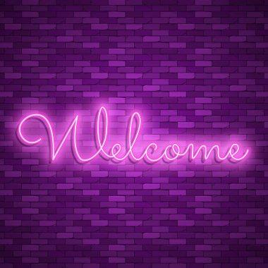 Neon light lettering, Stock vector. Welcome lettering