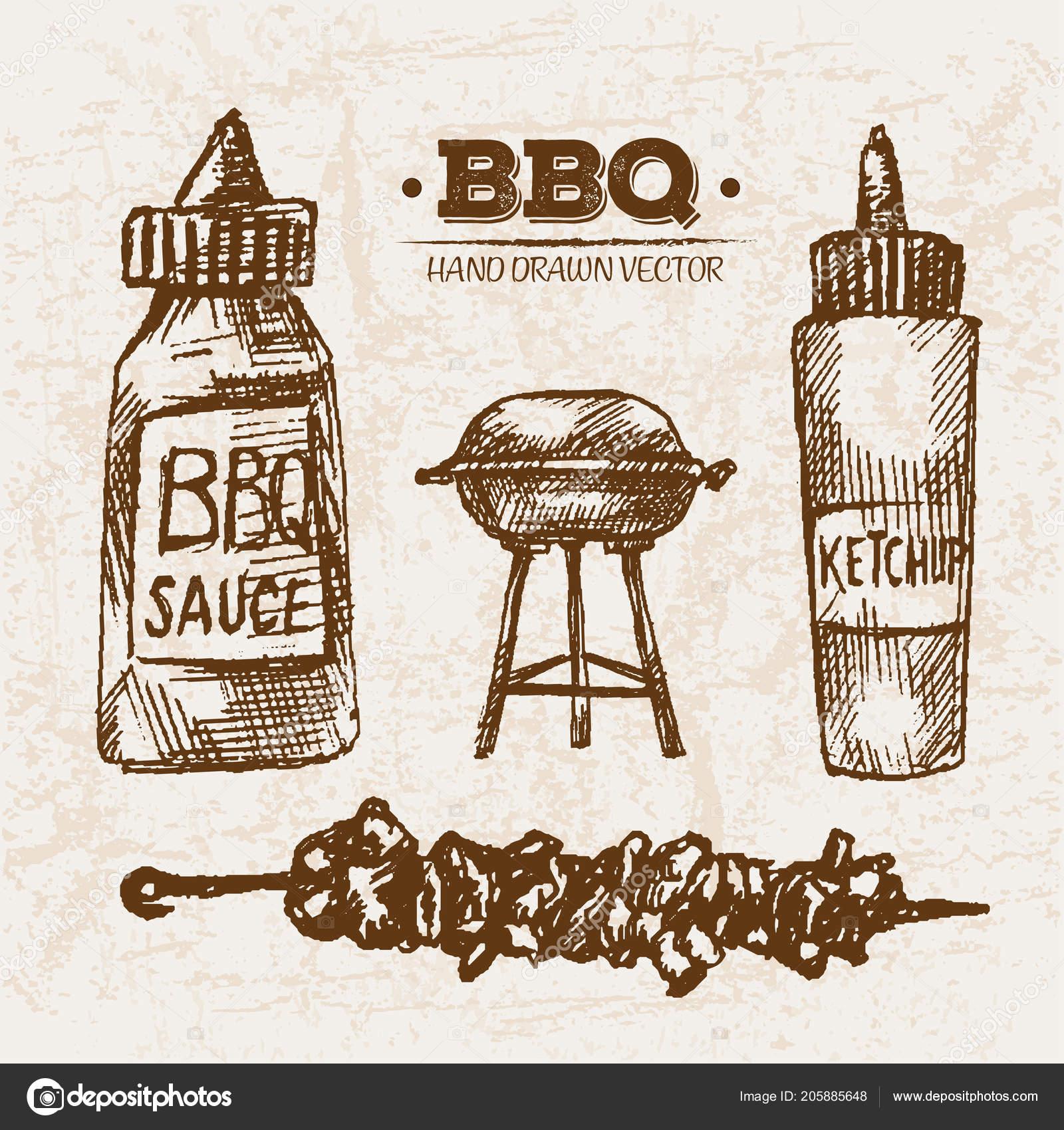 Astounding Hand Drawn Sketch Steak Meat Products Bbq Set Sauce Skewers Inzonedesignstudio Interior Chair Design Inzonedesignstudiocom