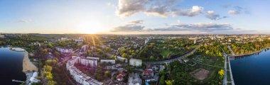 Panoramic aerial shot of Valea Morilor Park at sunset