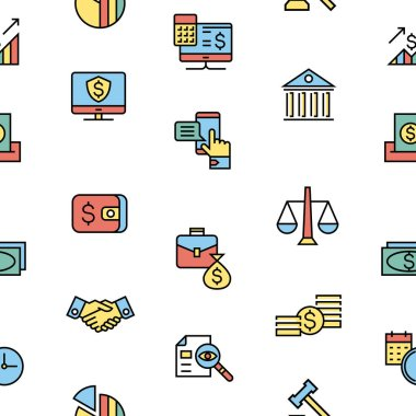 accounting, banking finance flat line icons vector