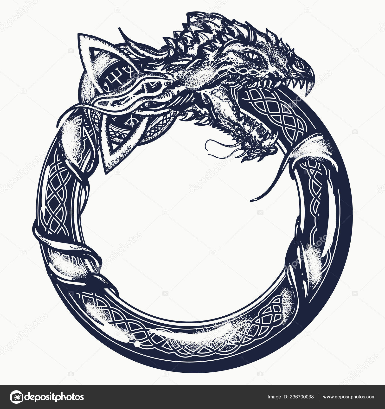 Ouroboros Tattoo Celtic Dragon Eating Its Own Tail Medieval