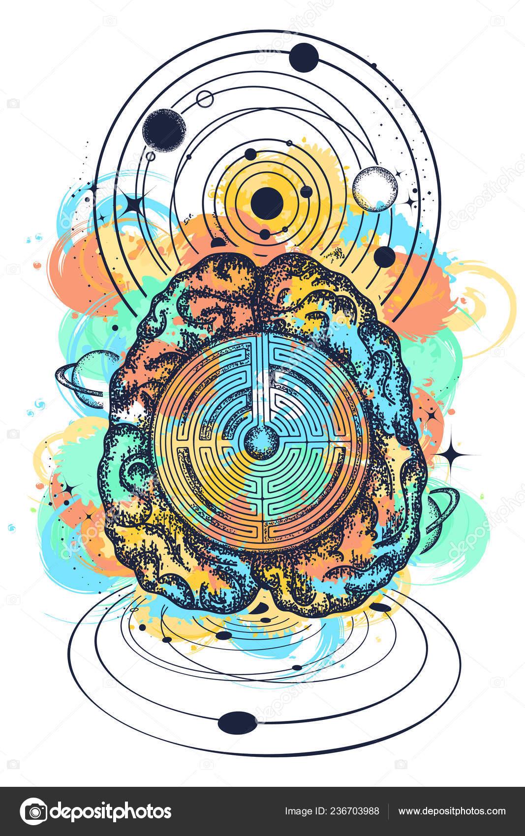Brain Universe Watercolor Splashes Style Tattoo Art Symbol