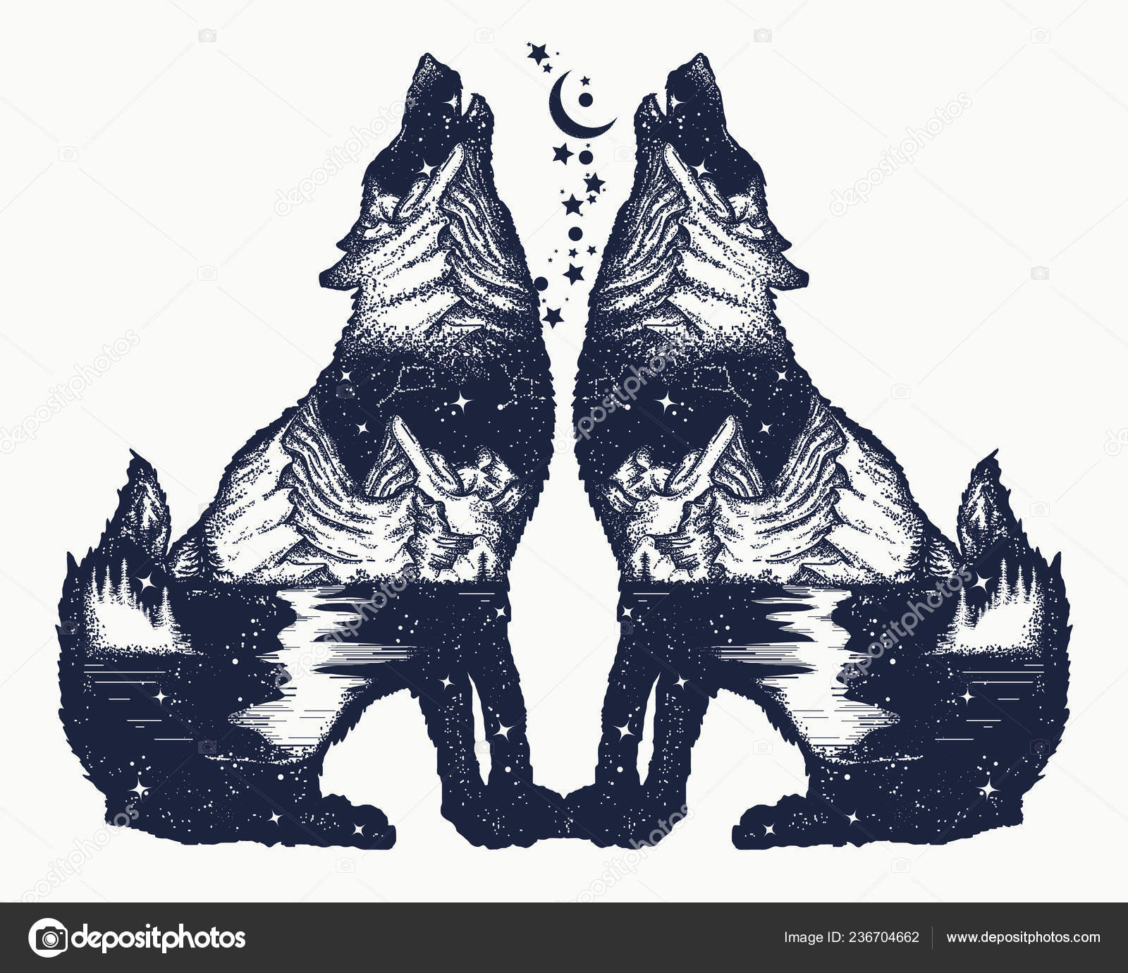 2a6c1a4c5 Two Wolves Double Exposure Tattoo Shirt Design Symbol Tourism Travel — Stock  Vector