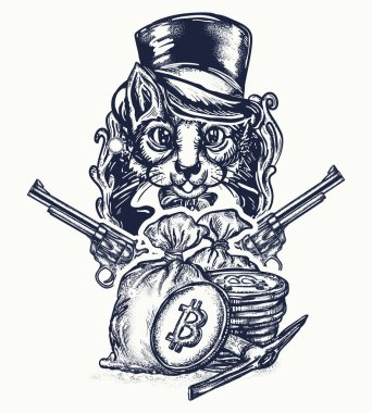 Cat robber tattoo. at gentleman with revolvers plunders cryptocurrency and bitcoins. Noble cat robber of banks tattoo and t-shirt design