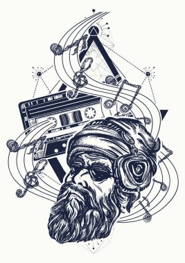 Fashionable bearded man and old audio cassette tattoo. Bearded hipster in earphone listens to music. Symbol of pop music, hard rock, heavy metal, disco t-shirt design
