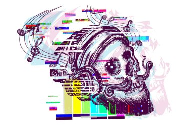Human skull glitch tattoo and t-shirt design. Skull of the bearded hipster. Skull in earphone listens to music. Glitch art. Skull with beard, mustache, hipster hat and headphones tattoo