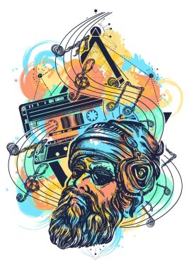 Fashionable bearded man and old audio cassette watercolor splashes style tattoo. Bearded hipster in earphone listens to music. Symbol of pop music, hard rock, heavy metal, disco t-shirt design