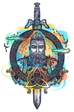 Viking tattoo and t-shirt design watercolor splashes style. Bearded barbarian of Scandinavia,sword, god Odin, dragon. Symbol of force, courage