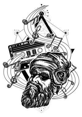Bearded man and old audio cassette tattoo. Hipster in earphone listens to music. Symbol of pop music, hard rock, heavy metal, disco t-shirt design