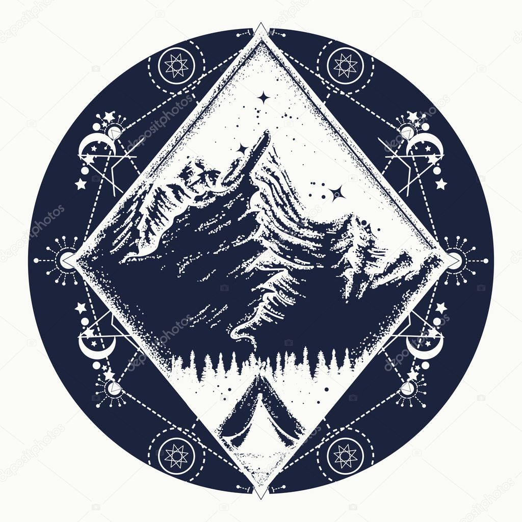 47a72c60c88bf Camping tattoo and t-shirt design. Tent in the mountains t-shirt design  Indian vector ...