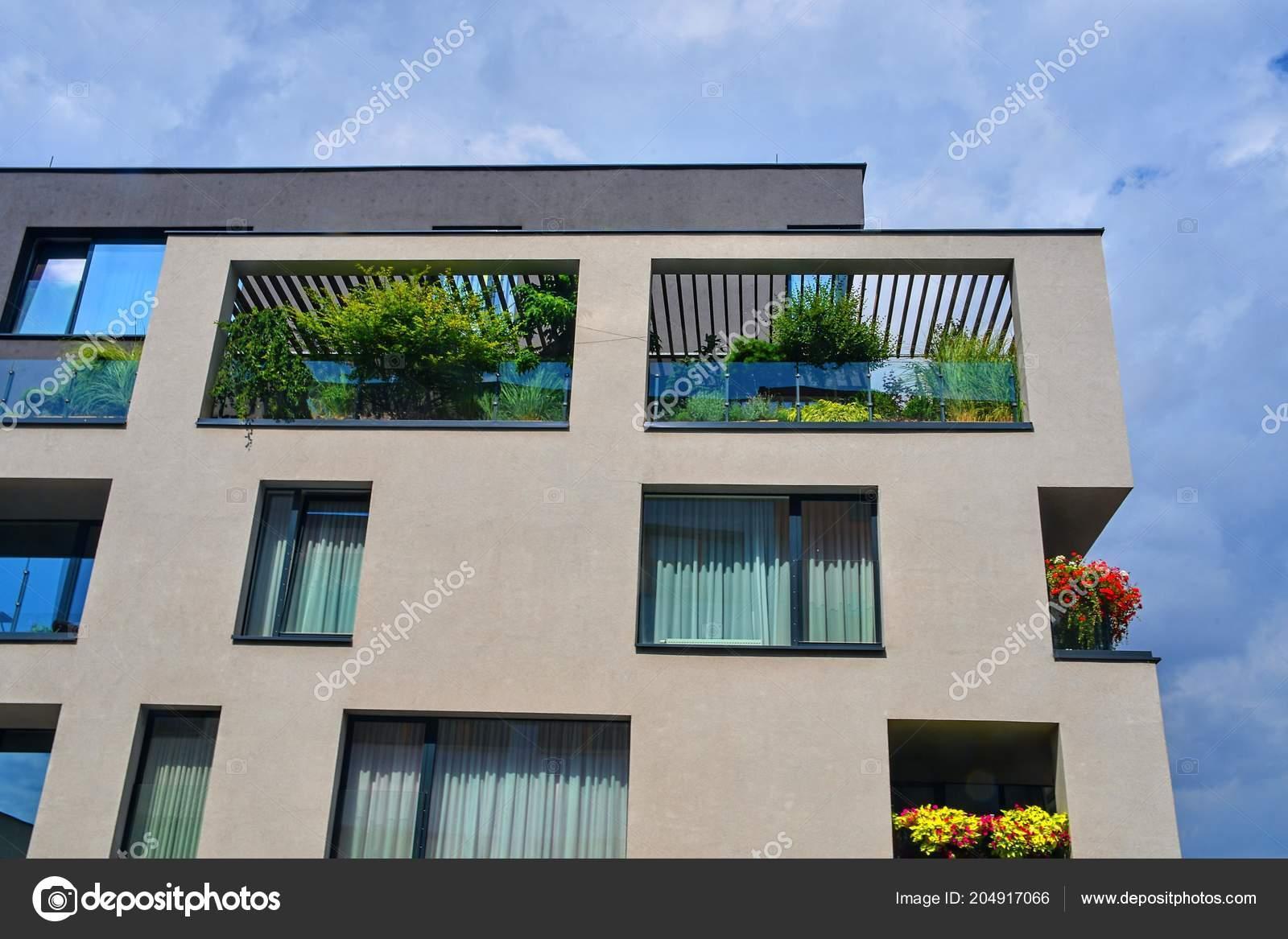 Arquitectura Moderna Terraza Urbana Con Flores Vegetación